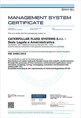 Certificate Caterpillar Fluid Systems SRL ISO14001 2016-12-23